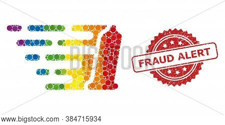 Preservative Collage Icon Of Circle Spots In Various Sizes And Lgbt Colored Color Tinges, And Fraud