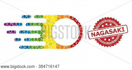 Photon Flight Collage Icon Of Circle Dots In Variable Sizes And Spectrum Bright Color Hues, And Naga