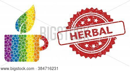 Herbal Tea Collage Icon Of Spheric Items In Various Sizes And Lgbt Bright Color Tones, And Herbal Un