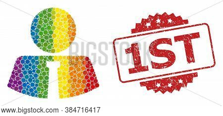 Mister Mosaic Icon Of Filled Circle Dots In Different Sizes And Lgbt Color Hues, And 1st Dirty Roset