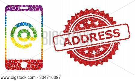 Smartphone Address Collage Icon Of Circle Blots In Variable Sizes And Spectrum Colored Shades, And A