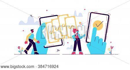 Payment Transfer Concept, Flat Tiny Persons Vector Illustrations. Digital Wallet Operations Between