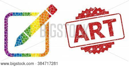 Edit Pencil Mosaic Icon Of Filled Circle Items In Variable Sizes And Lgbt Colored Color Tones, And A