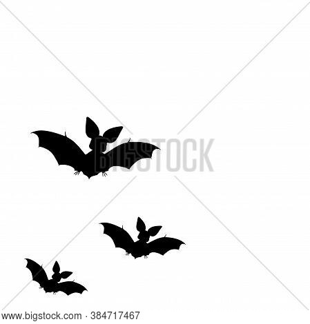 Black Silhouettes Of Bats. Cave Black Bats Group On White Halloween Background. Silhouettes Of Flyin