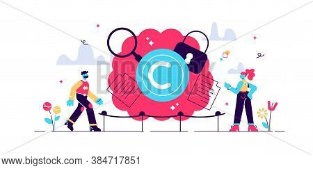 Intellectual Property Vector Illustration. Flat Tiny Author Persons Concept. Idea Legal Owner Inform