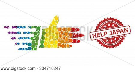 Hand Palm Mosaic Icon Of Filled Circle Blots In Different Sizes And Lgbt Colored Color Tinges, And H