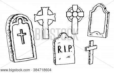 Vintage Shabby Headstones And Celtic Crosses Set. Hand Drawn Doodle Sketch Black Outline Gloomy Grav