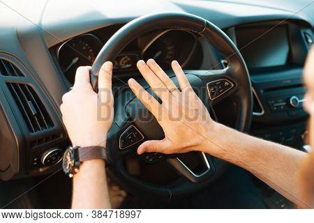 Close Up Photo Of Man Honking In Traffic Jam, Rush Hour
