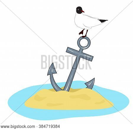 The Anchor Is Stuck In The Sand, A Seagull Sits On It. Vector Illustration