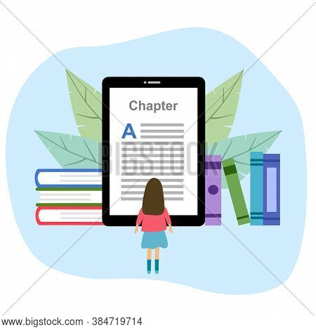 Book And Ebook Reader Tablet Device. Online Digital Library And Ebook Concept Vector Illustration On