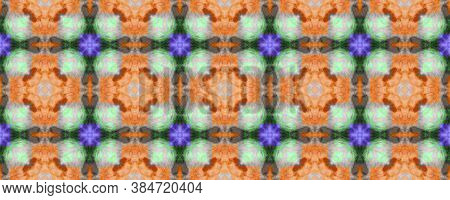 Hand Painting Texture. Orange, Green And Pink Textile Print. Tribal Backdrop.  Colorful Natural Ethn