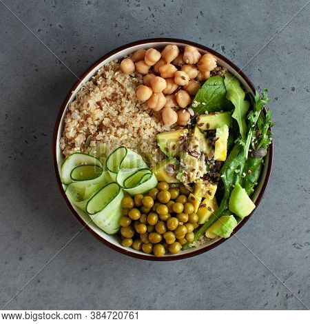 Healthy Vegetable Lunch From The Buddha Bowl With Quinoa, Avocado, Chickpeas. Healthy Food Dish For