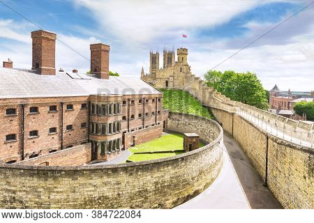 2 July 2019: Lincoln, Uk - The Old Gaol, Now A Tourist Attraction, From The Walls Of The Castle. The