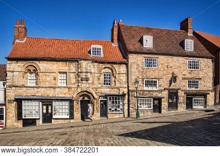 2 July 2019: Lincoln, Lincolnshire, Uk - Jews House And Jews Court On Steep Hill, Lincoln. These Bui