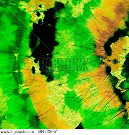 Fabric Print. Lime Banner.  Abstract Dyed Banner.  Simple  Oil Print. Fabric Print Background. Green