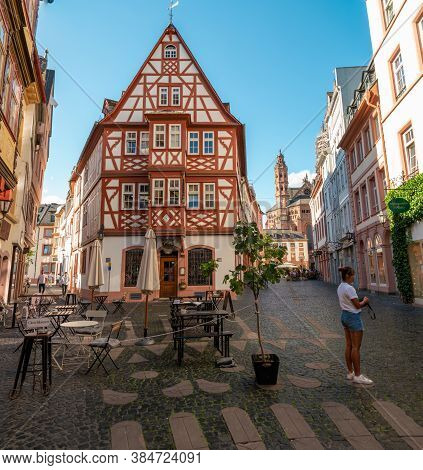 Mainz Germany August 2020, Classical Timber Houses In The Center Of Mainz, Germany