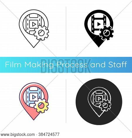 Filming Location Icon. Position For Movie Production Set. Location Marker For Cinematography. Search