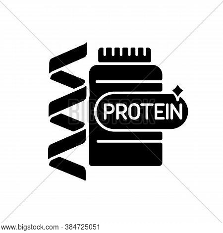 Protein Black Glyph Icon. Supplement For Fitness. Nutrition For Workout. Chemical Structure. Formula