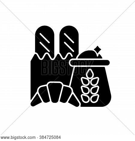 Carbohydrate Black Glyph Icon. Wheat Ingredient In Foodstuff. Nutritious Load. Food Group For Dietar