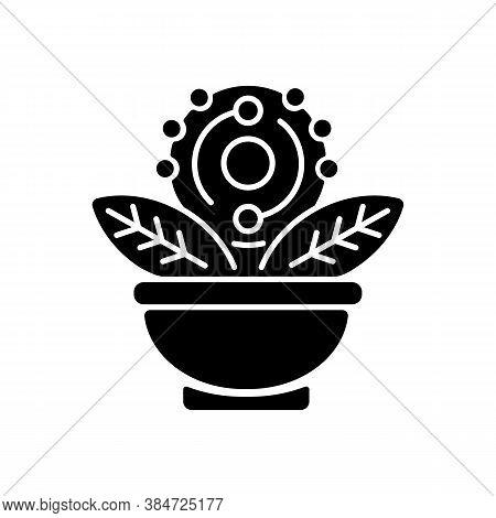 Antioxidant Black Glyph Icon. Green Tea. Acai And Grapefruit For Healthy Eating. Dietary Food. Herba