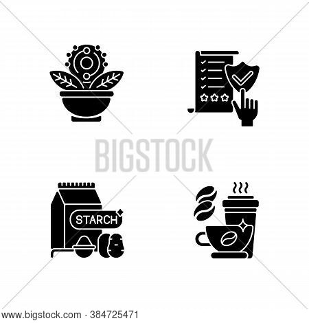 Diet Black Glyph Icons Set On White Space. Regulatory Compliance. Caffeine In Drinks. Starch In Food