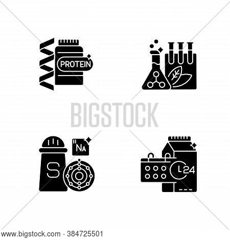Food Supplements Black Glyph Icons Set On White Space. Protein Supplement For Body Building. Chemica