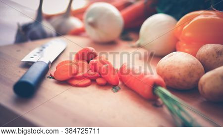 Vegetables On The Desk In A Kitchen
