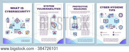 Cyber Security Tips Brochure Template. System Vulnerabilities. Flyer, Booklet, Leaflet Print, Cover