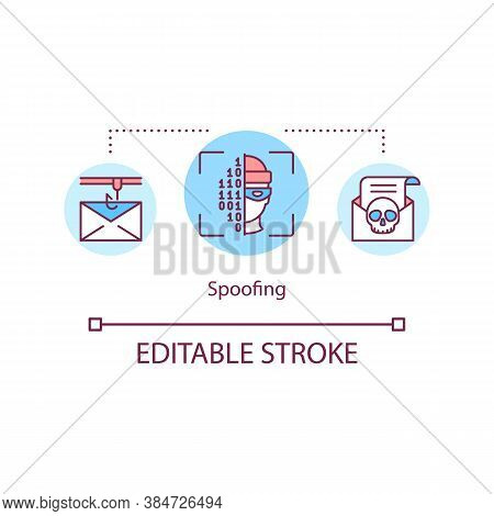 Spoofing Attacks Concept Icon. Falsification Of Transmitted Data Idea Thin Line Illustration. Disgui