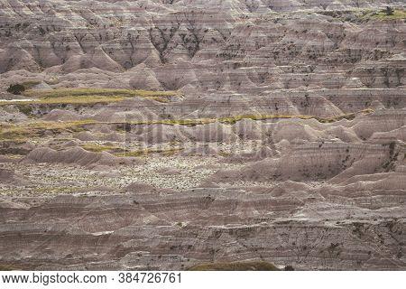 The Colorful Eroded Hills Of Badlands National Park In South Dakota Usa