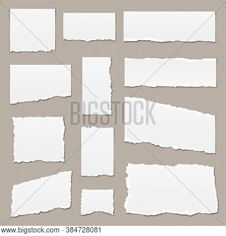 White Torn Paper. Torn Paper Scraps With Shadows. Paper Pieces Isolated. Vector Illustration. Ripped