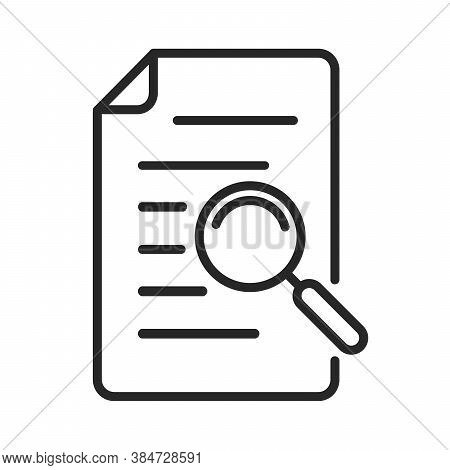 Documents Icon With Magnifying Glass. Search Icon Isolated. File Search Concept. Vector Illustration