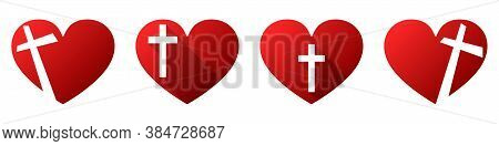 Heart Shape With Christian Cross Icon. Set Of Religion Symbols Isolated. Vector Illustration. Christ