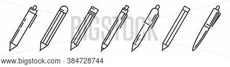 Pens And Pencils Isolated. Writing Tools Icons Set. Vector Illustration. Linear Templates Of Ballpen