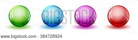 Set Of Color Glossy Balls. Abstract Realistic Balls With Shadows. Vector Illustration. Bright Balls