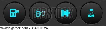 Set Pos Terminal, Pos, Piece Of Puzzle And Scientist And Test Tube Icon. Vector