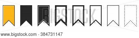 Bookmark Icons On White Background. Set Of Black Bookmarks Isolated. Vector Illustration