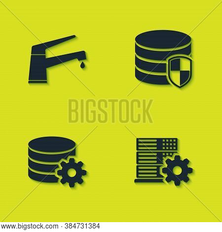 Set Water Tap, Server Setting, Setting Database Server And Database Protection Icon. Vector