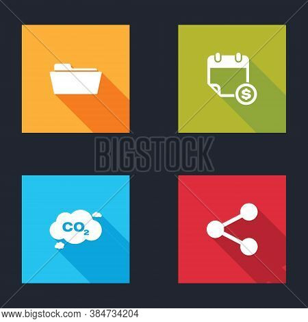 Set Folder, Financial Calendar, Co2 Emissions Cloud And Share Icon. Vector