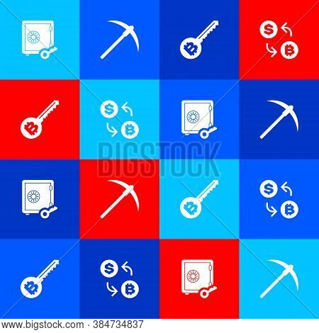 Set Proof Of Stake, Pickaxe, Cryptocurrency Key And Exchange Icon. Vector