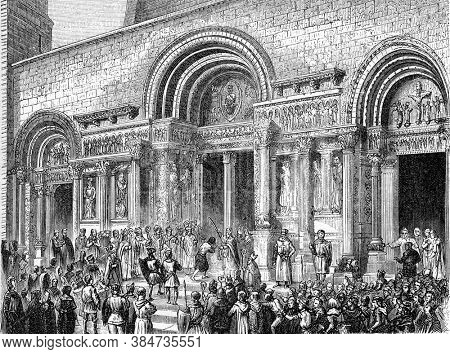 Penance of Raymond VI count of Toulouse, Vintage engraving. From Popular France, 1869.