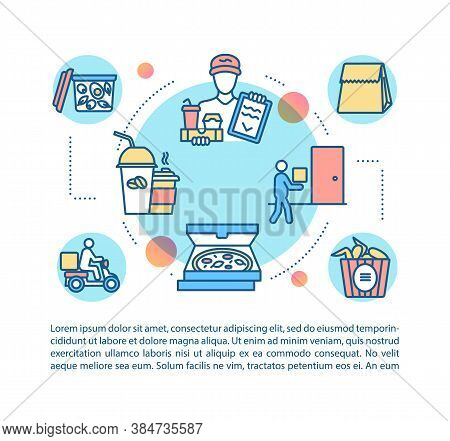 Meal Delivery Service Concept Icon With Text. Pizza, Coffe, Fast Food Ordering At Home. Ppt Page Vec