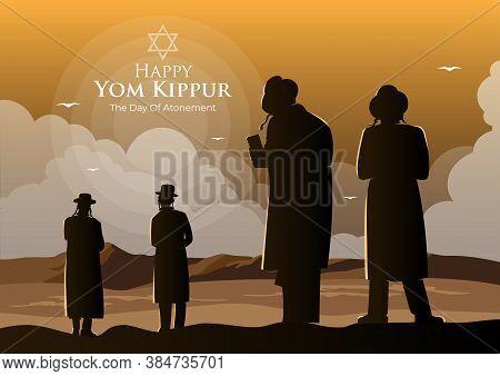 An Illustration Of Orthodox Jews Perform A Jewish Prayer Named Tashlich A Day Ahead Of Yom Kippur