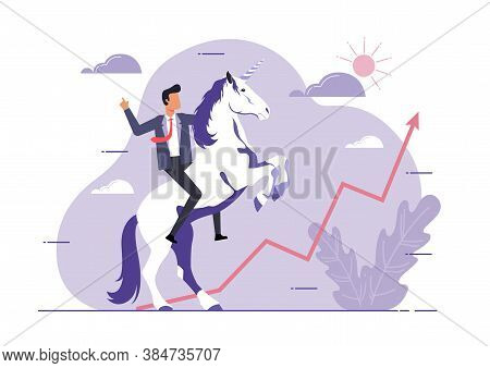 An Illustration Of Unicorn Symbol Of Success. Business Startup Concept. Businessman And A Unicorn Lo