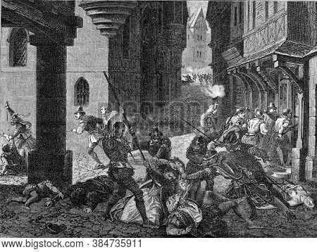 The Saint-Bartholomews Day massacre, Vintage engraving. From Popular France, 1869.
