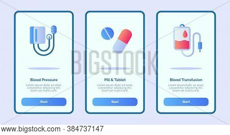 Medical Icon Blood Pressure Pill Tablet Blood Tranfusion Onboarding Screen For Mobile Apps Template