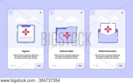Medical Icon Register Medical Folder Medical Document Onboarding Screen For Mobile Apps Template Ban
