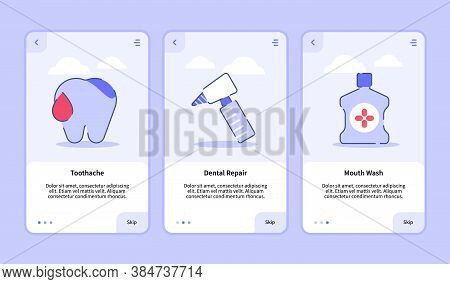 Medical Icon Toothache Dental Repair Mouthwash Onboarding Screen For Mobile Apps Template Banner Pag