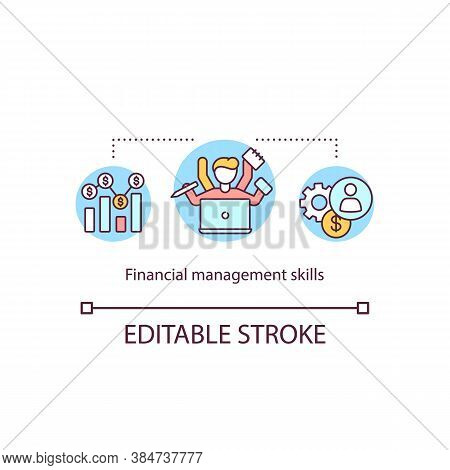 Financial Management Skills Concept Icon. Online Budget Planning Courses. Multitasking Banking Emplo