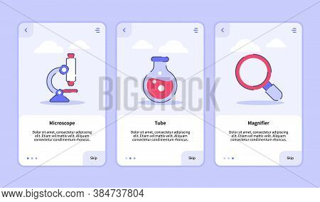 Medical Icon Microscope Tube Magnifier Onboarding Screen For Mobile Apps Template Banner Page Ui Wit